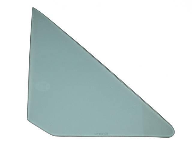 Glass, Vent Window, Green Tinted w/o markings, RH,