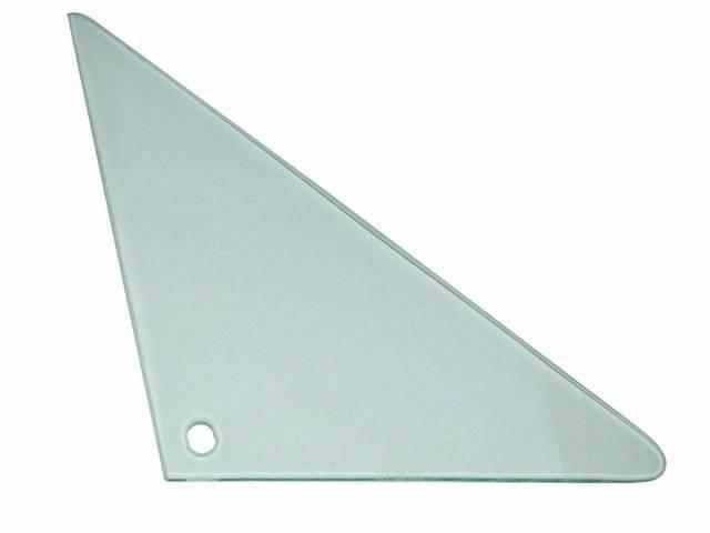 Glass, Vent Window, Clear w/o markings, RH, Repro