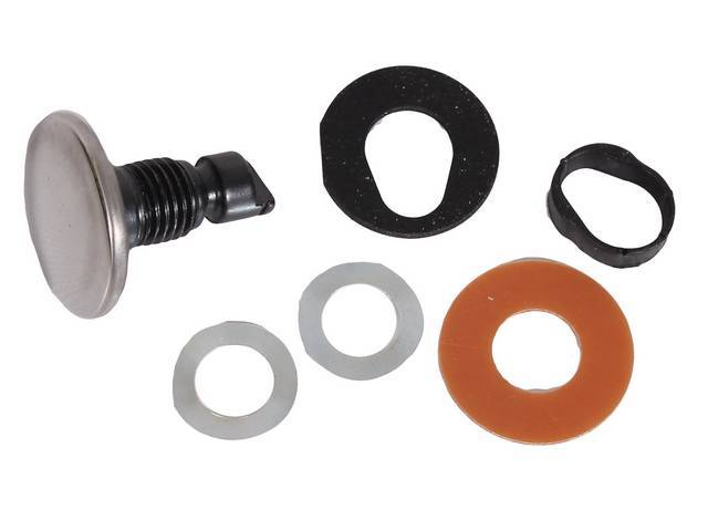 Stud Assy, Vent Window Handle, (6) incl polished stainless cap, fiber and rubber gaskets, internal plastic bushing spacer and two special wave washers