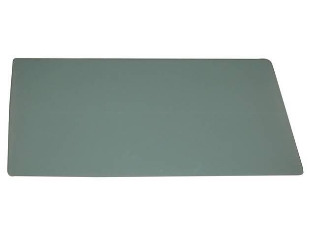 GLASS, Front Door Window, Green Tinted w/o markings,