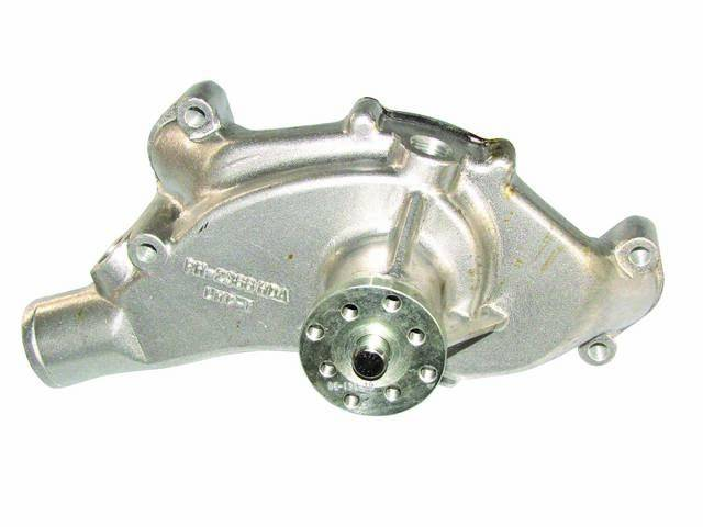 PUMP, Water, Short Style, new aluminum housing in chrome finish, 5.75 inch hub height, 5/8 inch pilot, 2 threaded water ports, standard clockwise rotation, Platinum SuperCool version (includes a custom water impeller that flows 30 percent more coolant to