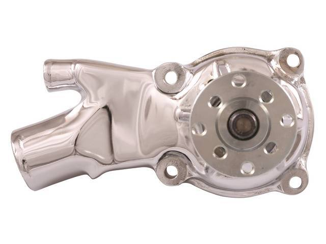 PUMP, Water, new cast iron housing in chrome finish, 3.875 inch hub height, 5/8 inch pilot, standard clockwise rotation, US built w/ new quality components, precision-made ball/roller bearings and spin-balanced fan hub sustain higher RPM, Tuff Stuff