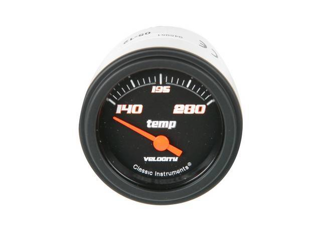 GAUGE, Coolant / Water Temperature, Classic Instruments, Velocity Black Series (gauge features orange pointer w/ orange outlined white markings on a black face), 2 1/8 inch diameter, 140-280 degree reading