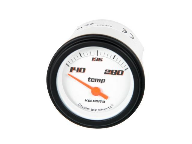 GAUGE, Coolant / Water Temperature, Classic Instruments, Velocity White Series (gauge features orange pointer w/ black markings on a white face), 2 1/8 inch diameter, 140-280 degree reading