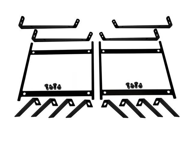 BRACKET SET, Bucket Seat Mounting, TMI Pro-Series, universal design metal brackets and adapters in black power coat finish, incl hardware, assembly and fabrication reqd, does one pair of seats, repro