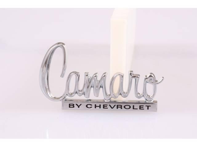 EMBLEM, DECK LID, *CAMARO BY CHEVROLET*, US-made OE