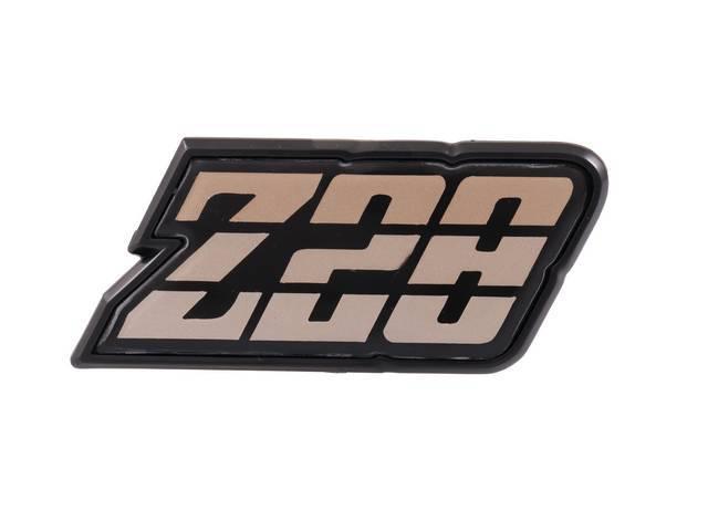 EMBLEM, Fuel Filler Door, *Z/28*, Gold Tri-Tone, US-made