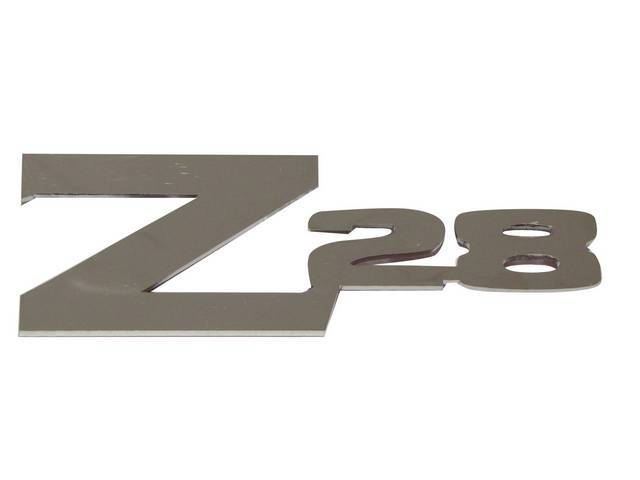 EMBLEM, DECK LID, *Z/28*, Mirror Polished Stainless, 3M