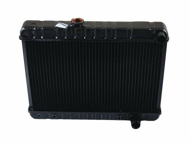 RADIATOR, Down Flow, Copper / Brass, 4 Row, 23 3/4 inch x 15 5/8 inch x 2 5/8 inch thick core size, 1 1/2 inch RH inlet, 1 3/4 inch RH outlet, OE style repro