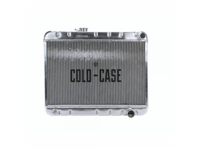 RADIATOR, Down Flow, Aluminum, 2 row, Cold Case, aluminum version of OE style radiator (can be painted black for OE look), 25.25 inch width x 15.5 inch height x 2.2 inch thick core size, 20.125 inch overall height, 1.5 inch RH inlet, 1.8125 inch RH outlet
