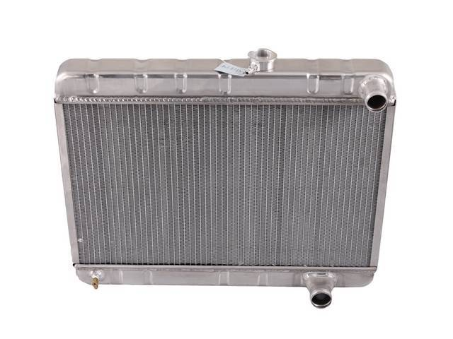 RADIATOR, Down Flow, Aluminum, 2 Row, 25 1/2 inch x 15 1/2 inch x 2 1/4 inch thick core size, 1 1/2 inch RH inlet, 1 3/4 inch RH outlet, natural finish repro