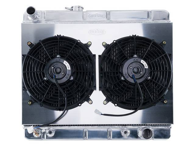 RADIATOR AND FAN KIT, Cold Case, incl down flow 2 row aluminum radiator (OE style, can be painted black for OE look, 25.25 inch width x 15.5 inch height core size, 20.125 inch overall height, 1.5 inch LH inlet, 1.8125 inch RH outlet, LH offset fill cap, d