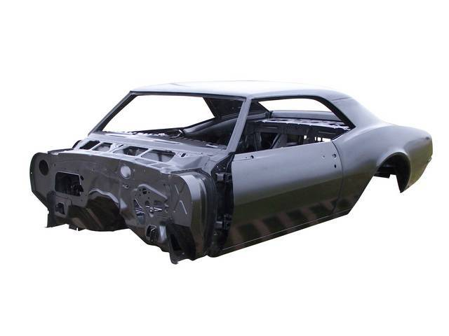 SHELL ASSY, Body, Real Deal Steel, Completely new steel body assembled w/ 18 gauge steel from AMD and 25 percent more spot welds than GM used, new body skeleton incl dash, roof skin, drip rails and headliner bows, quarter panels, rear deck filler panel, t