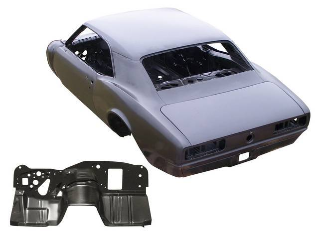 SHELL ASSY, Body, Real Deal Steel, Completely new steel body assembled w/ 18 gauge steel from AMD and 25 percent more spot welds than GM used, new body skeleton incl dash, roof skin, drip rails and headliner bows, quarter panels, rear deck filler panel an