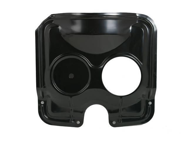 GUARD / SHIELD, Radiator Fan, Top, LH radiator cap opening, used in place of a full fan shroud, black painted finish, repro