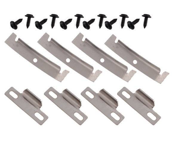 RETAINER SET, T-Top, weatherstrip, corner, (20 Total Pieces), 8-stainless steel retainers, 12-screws, kit does both sides, repro