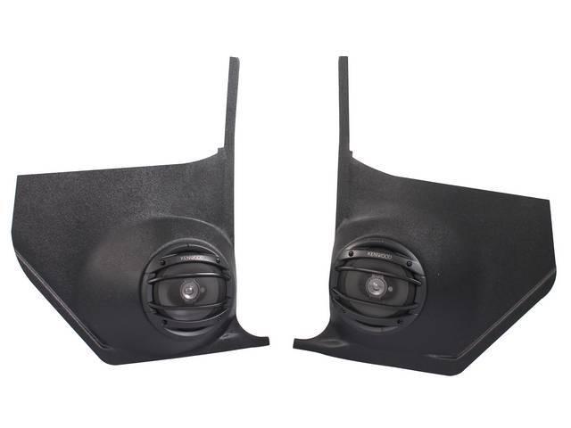 PANEL SET, Cowl Trim / Kick, Inner, w/ 180 watt Kenwood 6 1/2 inch o.d. speakers (incl grilles), plastic, black (paint as reqd), Vintage Car Audio repro