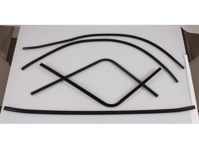 MOLDING KIT, Headliner and Window Trim, Black, (6) incl front windshield, rear window and side retaining strips, Repro