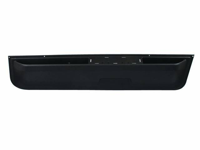PANEL, Front Door Lower Trim Finish, Black, RH, molded plastic, incl arm rest provision, correct grain and finish, GM licensed restoration part, OER repro