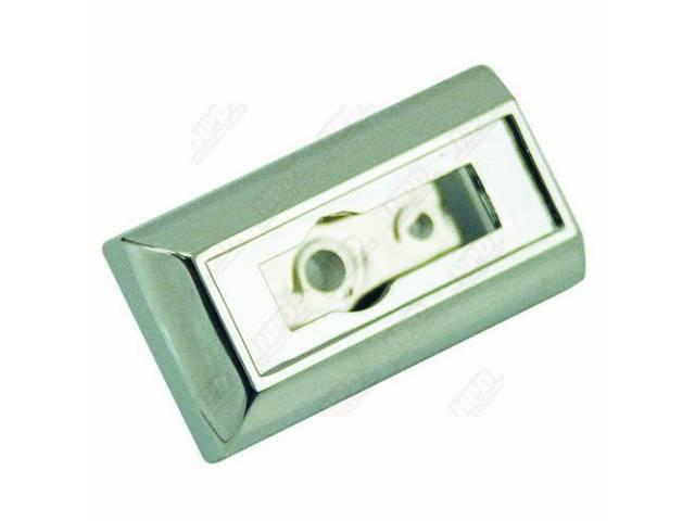 ESCUTCHEON, DOOR PULL STRAP, PLASTIC W/ CHROME FINISH,
