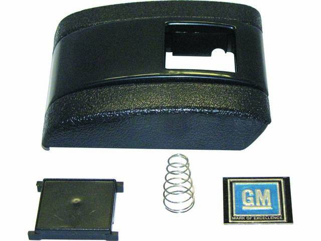 COVER ASSY, Seat Belt Buckle, Std Interior, Black (paint to match), Incl cover, button, blue *GM* emblem and spring, does not include base plate, OER repro