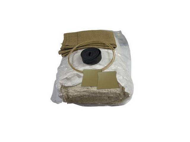 INSTALLATION KIT, Front Bucket Seats, incl 2 yards of 1/2 inch foam, 2 yards of burlap, 3 yards of 2 inch wide felt and 6 yards of wire listing rod, does two seats, repro