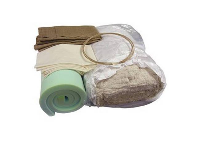 INSTALLATION KIT, Rear Seat, incl 30 inch x 80 inch section of 1 1/2 inch thick foam section, 10 lb roll of cotton, 4 yards of burlap, 2 yards of listing wire, and a dust mask, repro