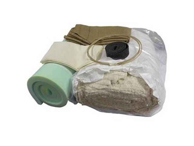INSTALLATION KIT, Front Bench Seat, incl 30 inch x 70 inch inch section of 1 1/2 inch thick foam section, 10 lb roll of cotton, 4 yards of burlap, 4 yards of listing wire, 2 yards of muslin, 3 yards of 2 inch wide felt, and a dust mask, fits split and ful