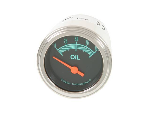 GAUGE, Oil Pressure, Classic Instruments, G-Stock Series (gauge features orange pointer w/ green markings on a dark gray face), 2 1/8 inch diameter, 100 psi reading