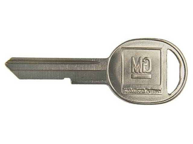 KEY BLANK, GM Oval, Features late style *GM* logo on head and *K* stamped on keyway, OE-style repro