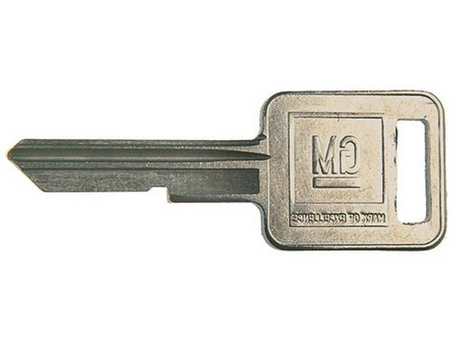 KEY BLANK, GM Square, Features late style *GM* logo on head and *J* stamped on keyway, OE-style repro