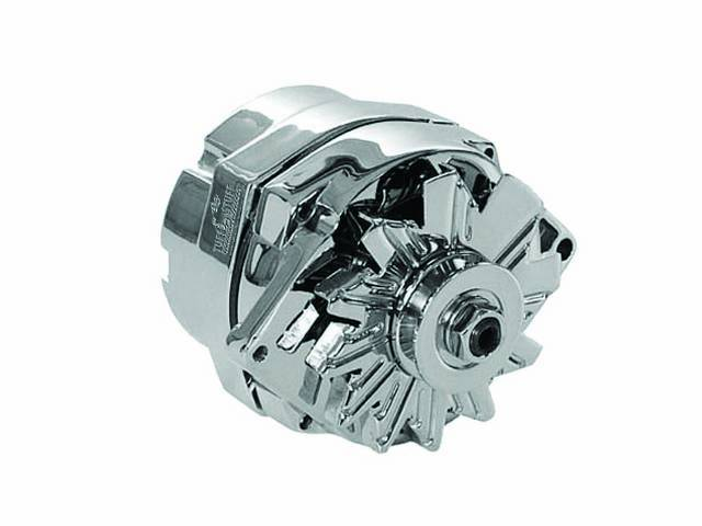 ALTERNATOR, NEW, US-Made by Tuff Stuff, w/ 100 Percent New Components, 80 amp, incl chrome finished case, fan and single groove pulley, repro