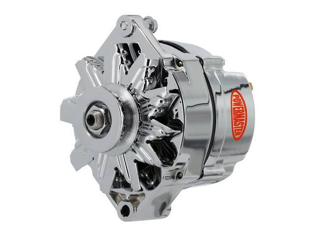 ALTERNATOR, New, Powermaster, Chrome Finish, 70 amp, 3 wire operation, GM 10DN case, external regulator, incl chrome single V-belt pulley and fan, straight mount 6.61 inch