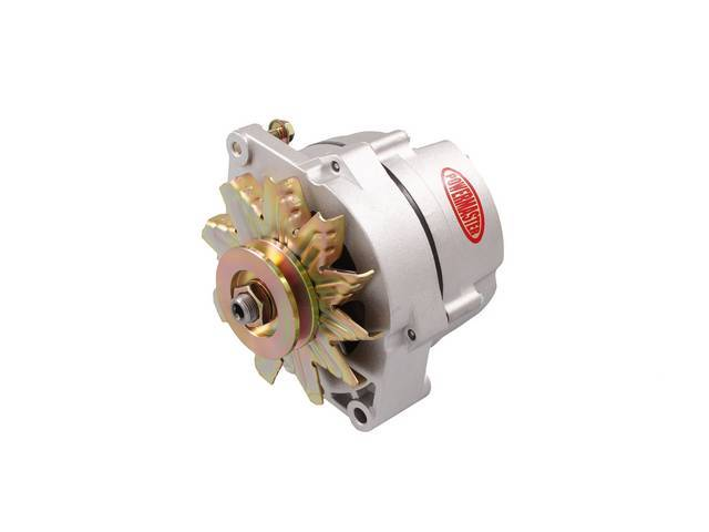 ALTERNATOR, New, Powermaster, Natural Finish, 70 amp, 3 wire operation, GM 10DN case, external regulator, incl single V-belt pulley and fan, straight mount 6.61 inch