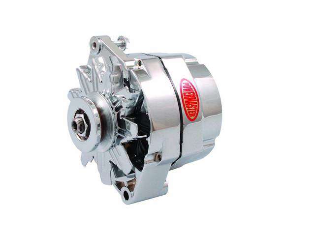 ALTERNATOR, New, Powermaster, Chrome Finish, 150 amp, 1 or 3 wire operation, GM 12si case, internal regulator, incl chrome single V-belt pulley and fan, straight mount 6.61 inch