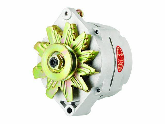 ALTERNATOR, New, Powermaster, Natural Finish, 150 amp, 1 or 3 wire operation, GM 12si case, internal regulator, incl single V-belt pulley and fan, straight mount 6.61 inch