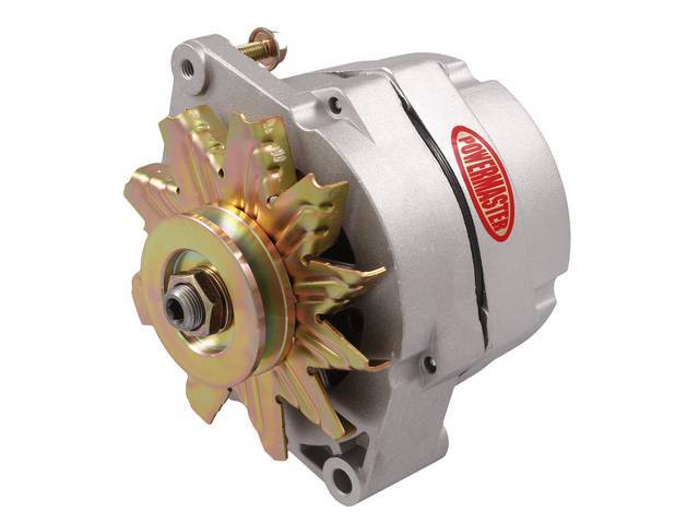 ALTERNATOR, New, Powermaster, Natural Finish, 85 amp, 1 or 3 wire operation, GM 10si case, internal regulator, incl single V-belt pulley and fan, straight mount 6.61 inch
