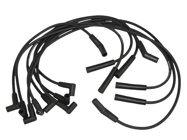 SPARK PLUG WIRE SET, Flame Thrower, H.E.I., 8 MM Black W/ White *Pertronix 8.0 Flame-Thrower* Writing, 90 degree plug boots, lifetime warranty