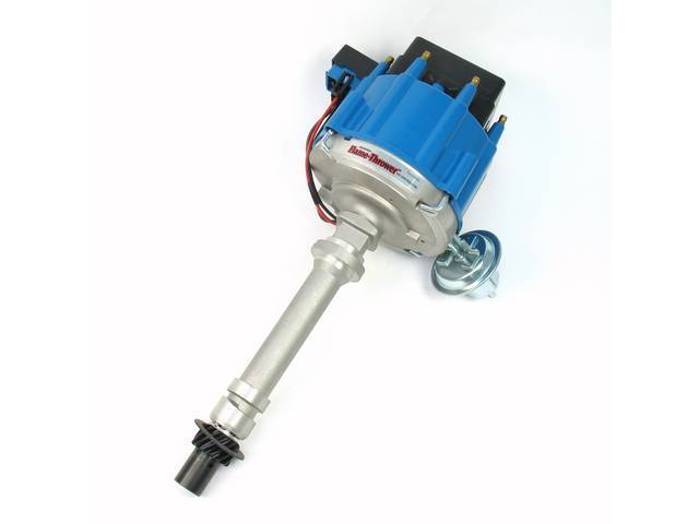 DISTRIBUTOR, Pertronix, H.E.I. Street / Strip, Blue Cap, Cast Finish, 6.29 Inch O.D. on Cap, 7.5 Inch Height From Base Collar to Top of Cap
