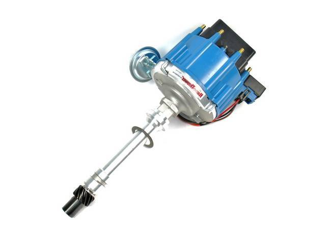 DISTRIBUTOR, Pertronix, H.E.I. Street / Strip, Blue Cap, Machine Polished Finish, 6.29 Inch O.D. on Cap, 7.5 Inch Height From Base Collar to Top of Cap