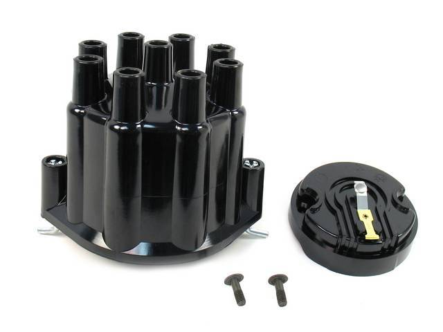 CAP AND ROTOR KIT, Distributor, Pertronix, Black female cap (uses std plug wires), works w/ 8 cyl Delco points style or Pertronix plug and play distributor