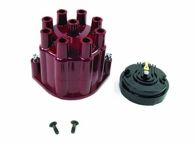 CAP AND ROTOR KIT, Distributor, Pertronix, Red female cap (uses std plug wires), works w/ 8 cyl Delco points style or Pertronix plug and play distributor