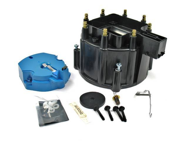 CAP AND ROTOR KIT, H.E.I. Distributor, Pertronix, Black, works w/ 8 cyl Delco or Pertronix H.E.I. distributors, cap features brass terminals, rotor incl nylon hold down screws