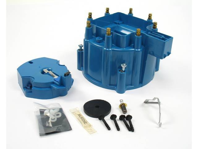 CAP AND ROTOR KIT, H.E.I. Distributor, Pertronix, Blue, works w/ 8 cyl Delco or Pertronix H.E.I. distributors, cap features brass terminals, rotor incl nylon hold down screws