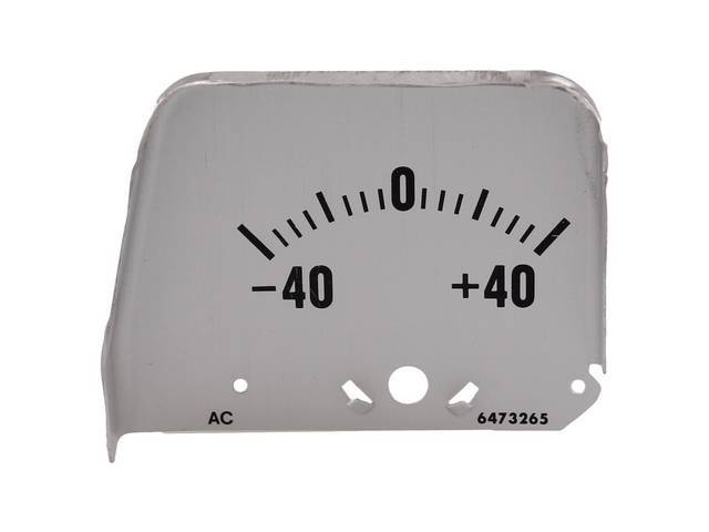 FACE PLATE, Electric Output / Ammeter Gauge, correct