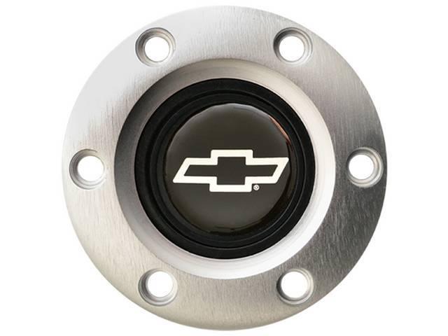 HORN CAP, Volante, S6 Sport 6 Bolt Series, Satin / Brushed Surround W/ Silver Bowtie on a Black Background Center Cap