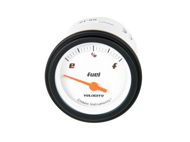 GAUGE, Fuel Quantity, Classic Instruments, Velocity White Series (gauge features orange pointer w/ black markings on a white face), 2 1/8 inch diameter, 240-33 OHM reading
