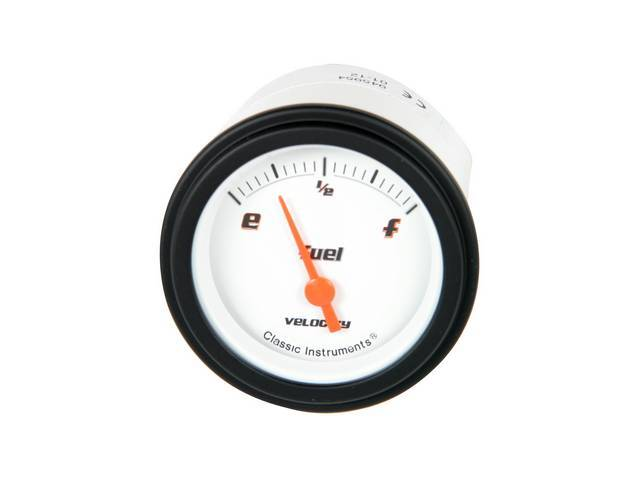 GAUGE, Fuel Quantity, Classic Instruments, Velocity White Series (gauge has orange pointer w/ black markings on a white face), 2 1/8 inch diameter, 0-90 OHM reading