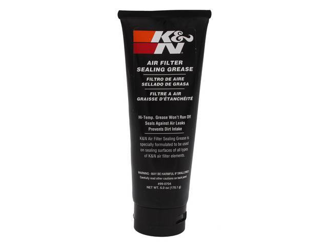 SEALING GREASE, Air Filter, K and N, 6 Ounce, Provides an airtight fit around sealing surfaces on all types of air filter elements, Resists heat and will not melt or run off, Ensures the filter stays sealed and provides extra protection in rugged environm