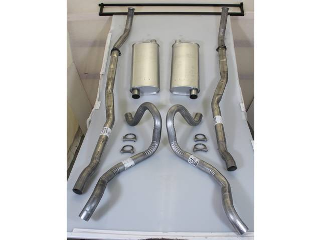 EXHAUST SYSTEM, Dual, Aluminized, kit includes head pipes, mufflers, tail pipes (exits just behind rear wheels / quarter panel side), clamps and flanges, repro